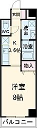東武伊勢崎線 春日部駅 徒歩9分の賃貸マンション 6階1Kの間取り