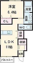 JR武蔵野線 市川大野駅 徒歩10分の賃貸アパート 1階1LDKの間取り