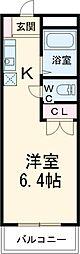 JR東海道本線 鴨宮駅 徒歩10分の賃貸マンション 3階ワンルームの間取り