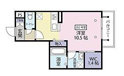 東武伊勢崎線 新越谷駅 徒歩11分の賃貸マンション 2階ワンルームの間取り