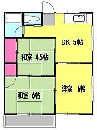 アムール秋山B 2階3DKの間取り