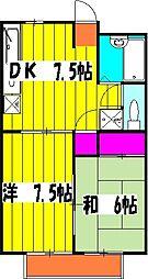 ソシアルマンションエノモト 3階2DKの間取り