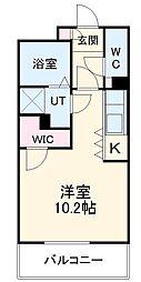 AXIA亀島 4階ワンルームの間取り