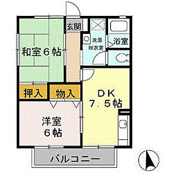 JR内房線 長浦駅 徒歩15分の賃貸アパート 2階2DKの間取り