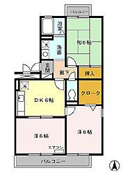JR内房線 長浦駅 徒歩13分の賃貸アパート 1階3DKの間取り