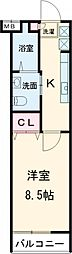 東急田園都市線 用賀駅 徒歩8分の賃貸マンション 1階1Kの間取り