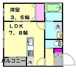 愛知環状鉄道 三河豊田駅 徒歩8分の賃貸アパート 2階1LDKの間取り