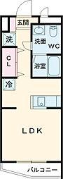 小田急小田原線 成城学園前駅 徒歩10分の賃貸アパート 1階1Kの間取り