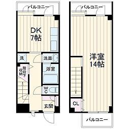 横浜市営地下鉄ブルーライン 蒔田駅 徒歩9分の賃貸テラスハウス 5階1LDKの間取り