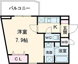 東急多摩川線 武蔵新田駅 徒歩3分の賃貸マンション 2階1Kの間取り