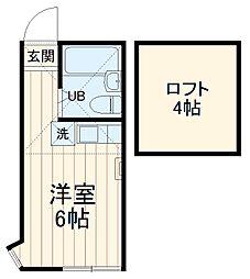 ユナイト浅田パットンの杜 2階ワンルームの間取り
