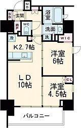 JR京浜東北・根岸線 大井町駅 徒歩3分の賃貸マンション 6階2LDKの間取り
