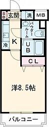 JR山手線 田町駅 徒歩15分の賃貸マンション 2階1Kの間取り
