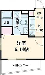 京急本線 新馬場駅 徒歩8分の賃貸マンション 4階1Kの間取り