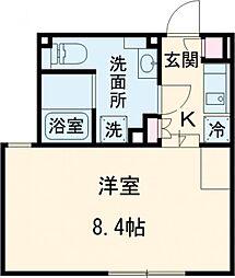 東急池上線 荏原中延駅 徒歩3分の賃貸マンション 1階ワンルームの間取り