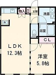 東急池上線 荏原中延駅 徒歩3分の賃貸マンション 4階1LDKの間取り
