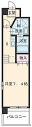 愛知高速東部丘陵線 杁ヶ池公園駅 徒歩10分の賃貸マンション 2階1Kの間取り