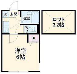 相鉄本線 西横浜駅 徒歩10分の賃貸アパート 2階1Kの間取り