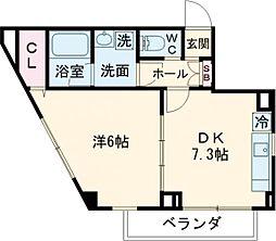 都営新宿線 船堀駅 徒歩8分の賃貸マンション 3階1DKの間取り