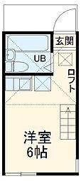ユナイト新川崎フィルミーノの杜 1階ワンルームの間取り