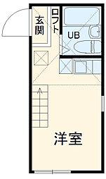 ユナイト新川崎フィルミーノの杜 2階ワンルームの間取り
