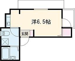 シャレー中目黒カワベ第18 3階ワンルームの間取り