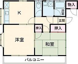東武日光線 東武金崎駅 徒歩16分の賃貸アパート 2階2DKの間取り