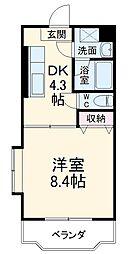 箱根登山鉄道 箱根板橋駅 徒歩8分の賃貸マンション 2階1Kの間取り