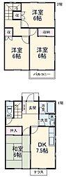戸塚テラスハウス 1階4DKの間取り
