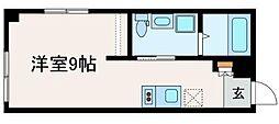 ブライトユー 4階ワンルームの間取り