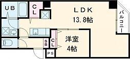 東京メトロ日比谷線 入谷駅 徒歩10分の賃貸マンション 4階1LDKの間取り