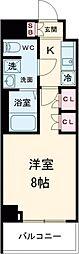 京王線 八幡山駅 徒歩9分の賃貸マンション 2階1Kの間取り