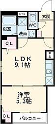 Relache新宿 4階1LDKの間取り