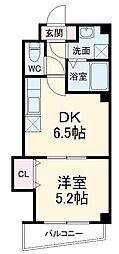 シャトー・ブリュ 4階1DKの間取り