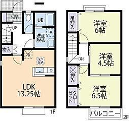 JR横浜線 町田駅 徒歩18分の賃貸テラスハウス 1階3LDKの間取り