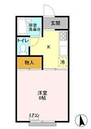 JR外房線 安房鴨川駅 徒歩5分の賃貸アパート 1階1Kの間取り