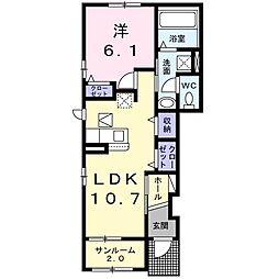 東葉高速鉄道 八千代緑が丘駅 徒歩17分の賃貸アパート 1階1LDKの間取り