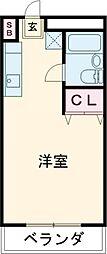 JR中央線 国立駅 徒歩5分の賃貸マンション 3階ワンルームの間取り