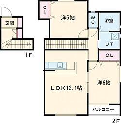 JR青梅線 昭島駅 徒歩8分の賃貸アパート 2階2LDKの間取り