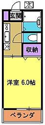 JR中央線 国立駅 徒歩10分の賃貸アパート 1階1Kの間取り