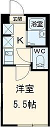 JR中央線 国分寺駅 徒歩15分の賃貸アパート 2階1Kの間取り