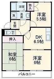 ヴェルデ・ジャルディーノA 2階3DKの間取り