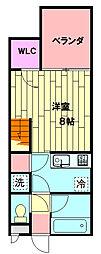 セザンヌ小坂井 1階ワンルームの間取り