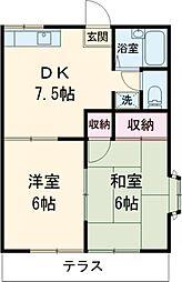 JR南武線 矢川駅 徒歩14分の賃貸アパート 2階2DKの間取り