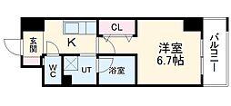 名鉄瀬戸線 森下駅 徒歩4分の賃貸マンション 8階1Kの間取り