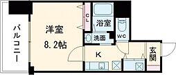 京王線 府中駅 徒歩4分の賃貸マンション 8階1Kの間取り