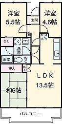 小田急小田原線 町田駅 徒歩16分の賃貸マンション 4階3LDKの間取り