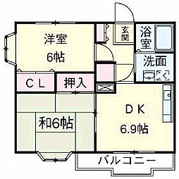 JR中央線 立川駅 徒歩22分の賃貸マンション 3階2DKの間取り