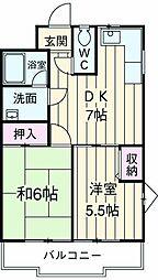 JR中央線 国立駅 徒歩20分の賃貸マンション 1階2DKの間取り