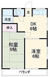田村ハイツB 2階2DKの間取り